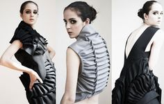 Fabric Manipulation - dresses with sculptural pleats - creative fashion design details; sewing; pleating