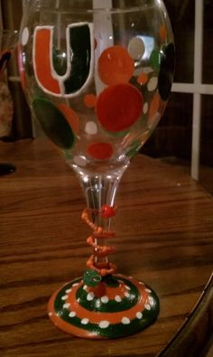 HandPainted University of Miami Hurricanes wine Glass Canes college football Party UNIQUE. $15.00, via Etsy.