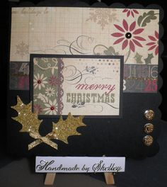 25 Days Of Christmas paper pad by Simple Stories. Pearls and bow by Meiflower. Card Candi by Craftwork Cards with a hint of glitter added :)