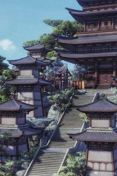 Fantasy Art Landscapes, Fantasy Landscape, Fantasy Places, Fantasy World, Aesthetic Japan, Aesthetic Art, Casa Anime, Ancient Chinese Architecture, Asian Landscape