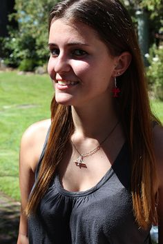 3D-Printed New Bay Bridge Necklace by hrvst3D on Etsy  (Shown with Oak Tree Earrings)