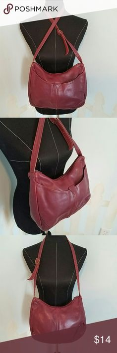 """Libaire California Burgandy Purse Libaire California Burgandy Purse Width 11-1/2"""" Height 8"""" Depth 2"""". Two exterior slip pockets. One interior zippered pocket. Shows a little wear, nothing major. Great preloved condition. Please let me know if you have any questions. Thank you for looking! Xoxoxoxo libaire California  Bags Shoulder Bags"""