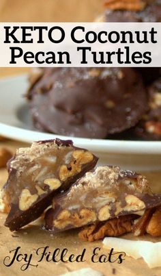 Keto Pecan Turtles - Low Carb Keto - Chocolate Toffee Toasted Pecans AND Coconut? These Turtles are amazing. And sugar free gluten free low carb and THM S approved. Low Carb Sweets, Low Carb Desserts, Low Carb Recipes, Frozen Desserts, Keto Cookies, Almond Joy, Candy Recipes, Dessert Recipes, Breakfast Recipes