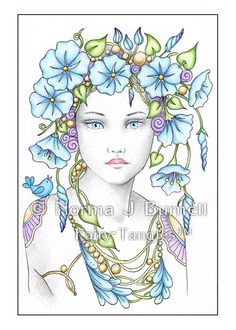 Morning Glory - Original Fairy-Tangles™ drawing by Norma J Burnell - 4x6 inches, Color pencil on plate bristol paper