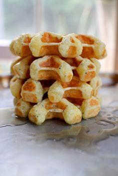 Lemon Ricotta Waffles with poppy seeds   Joy the Baker