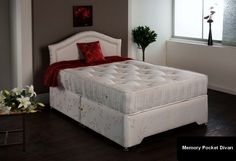 """3ft Memory Pocket Divan - £499.95 - A superb firmer 'no turn' pocket sprung divan with the luxury and benefits of Visco elastic memory foam.  The bed has been so popular in standard sizes we have now introduced it in shorter lengths.  Visco elastic is temperature sensitive so that it reacts to your body heat. The substantial pocket springs offer outstanding support and a firmer than average feel.  A very deep firm mattress. Approx 12"""" deep with multi layers of upholstery"""