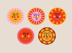 illustrator Sunny Faces by Mariel Abbene Acne- Does Food Make A Difference? Sonne Illustration, Illustration Design Graphique, Face Illustration, Pattern Illustration, Posca Art, Art Watercolor, Arte Sketchbook, Hippie Art, Poster S