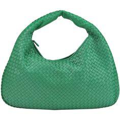 Bottega Veneta Intrecciato Nappa Hobo Bag (€1.590) ❤ liked on Polyvore featuring bags, handbags, shoulder bags, top handle handbags, hobo handbags, green shoulder bag, zipper purse and hobo shoulder bags