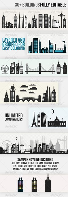 Skyline Creation Kit  #GraphicRiver         A set of buildings and vectors for designers to create their own skylines. Requires little Illustrator knowledge.  	 It's great for anyone tired of the old NYC skyline being reused over and over. You can easily create tons of different skylines for all your design work.