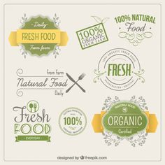 Etiquetas de los alimentos orgánicos Vector Gratis