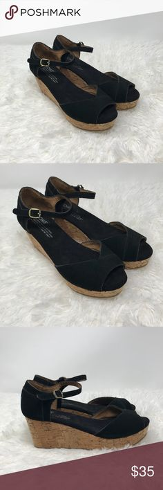 New Toms Ankle Strap Cork Wedges Like new never worn New Toms Ankle Strap Cork Wedges in Black. These are super cute and in perfect shape - never worn. Toms Shoes Wedges