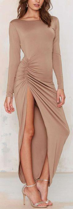 Nude Side Slit Maxi Dress