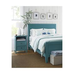 Pictures over bed      Harbor Blue Bed | Crate and Barrel