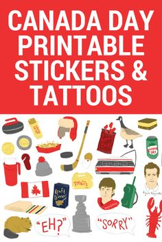 Celebrate with these super cute stickers/temporary tattoos of absolutely EVERYTHING Canadian, from Nanaimo bars to Terry Fox to the Canadian Rockies. Printable Stickers, Cute Stickers, Canada Day 150, Canada Day Crafts, Nanaimo Bars, Bagged Milk, Canadian Rockies, Toronto Canada, Temporary Tattoos