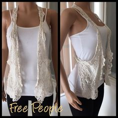 Free People Crochet Vest This adorable crochet vest is the perfect addition to your simple style with a taste of boho. Looks great over a plain white T and jeans. Crochet pattern is simply gorgeous. One Size fits most but best fits S-M Free People Tops