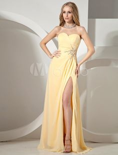 Yellow Strapless Sweetheart Chiffon Woman's Prom Dress
