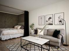 Studio Apartment Furniture, Studio Apartment Living, One Room Apartment, Studio Apartment Layout, Small Apartment Interior, Small Apartment Design, Studio Apartment Decorating, Small Room Design, Studio Living