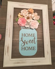 Mason jar wood sign with flowers. Home sweet home. Cute Crafts, Crafts To Do, Paper Crafts, Diy Crafts, Dollar Tree Decor, Dollar Tree Crafts, Spring Crafts, Holiday Crafts, Felt Flowers