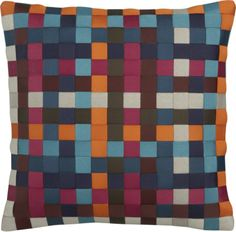 "Orange, magenta, maroon, light blue - navy / white neutral Ribbon 12"" Pillow  