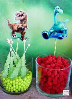 Disney's The Good Dinosaur Party Ideas from Soiree Event Design. Check out these ideas for a dinosaur candy table. Third Birthday, 3rd Birthday Parties, Boy Birthday, Birthday Ideas, Elmo Party, Candy Party, Mickey Party, Dinosaur Party Favors, Dinosaur Birthday Party