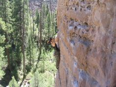 Shelley climbing at The Pit in Flagstaff AZ