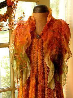 Autumn colored nuno felt scarf | Flickr - Photo Sharing!