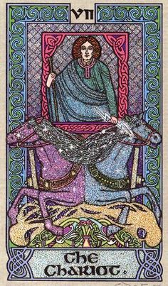 The Chariot - Celtic Tarot by Courtney Davis & Helena Paterson. This card symbolizes one of the stages of the Fool's Journey towards self-discovery. The Fool stands for all of us. For more information, visit me at: * Whimsy but Wise *. Major Arcana Cards, Tarot Major Arcana, The Chariot Tarot, Celtic Tarot, What Are Tarot Cards, Le Tarot, Divination Cards, Hero's Journey, Tarot Card Decks