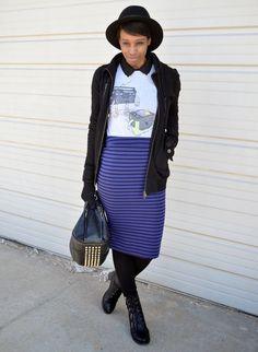 Revenge of the Radio Star #ootd #spring #style #fashion #springfashion #springstyle #fashionblogger #stripedskirts #pencilskirts #funtshirts #threadless