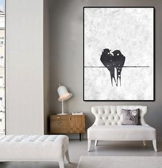 Hand Made Large Acrylic Painting On Canvas, Abstract Art Landscape, Modern Painting Clean Looks, Black White Art.