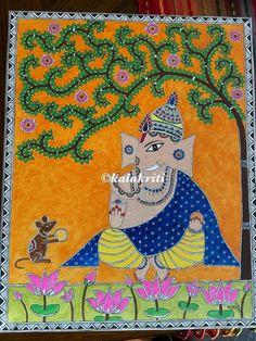 Madhubani art on canvas Ganesha Drawing, Ganesha Painting, Buddha Painting, Ganesha Art, Buddha Art, Madhubani Art, Madhubani Painting, Kalamkari Painting, Seashell Painting