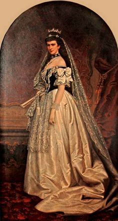Portrait of Kaiserin Elisabeth of Austria in hungarian court gown. Austria, Empress Sissi, Anime Drawing Styles, Victorian Pictures, Royal King, Old Portraits, Court Dresses, Royal Clothing, Elisabeth