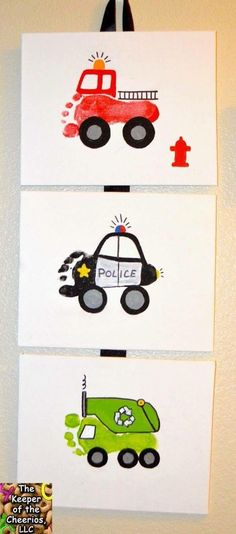 Community Helper Vehicles made with children's feet.