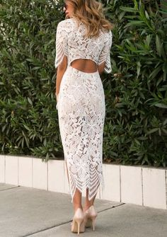 lace and locks, lace midi dress, white lace dress, bow heels Shower Dress For Bride, White Bridal Shower Dress, Bridal Shower Guest Outfit, Bridal Shower Dresses, Trendy Dresses, Nice Dresses, Casual Dresses, Moda Petite, Rehearsal Dinner Outfits