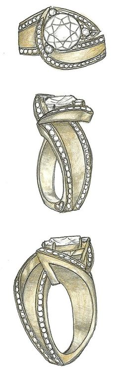 Mark Schneider Design - Luxury engagement ring customized for a wide shank version in yellow gold