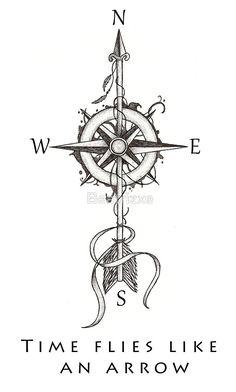 Time flies like an arrow (compass with arrow) von Beatrizxe