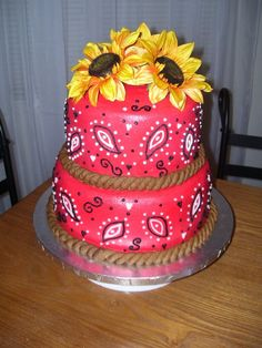 Bandana Cake with Sunflowers | bandana cake i made this cake for a co workers western themed bridal ...