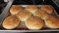 Homemade Hamburger Buns~I used my bread machine and traded 1 1/2 cups of white flour for whole wheat flour and they turned out great.