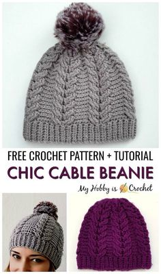 Chic cable beanie free crochet pattern + tutorial sizes toddler adult crochet hat patterns winter hat pattern tips Easy Crochet Hat, Bonnet Crochet, Crochet Cable, Crochet Diy, Crochet Beanie Pattern, Crochet Crafts, Crochet Patterns, Tutorial Crochet, Cable Knit