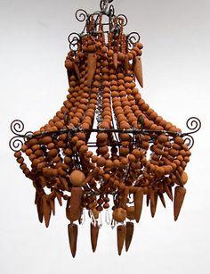 terra cotta chandelier by mud studios in south africa Wood Chandelier, Beaded Chandelier, Modern Chandelier, Chandeliers, African Interior, Cold Porcelain, Painted Porcelain, China Porcelain, Hand Painted