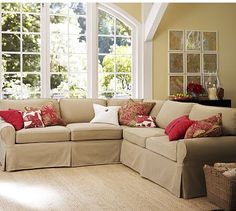 PB Basic 2-Piece L-Shaped Sectional #potterybarn    In brushed canvas stone or natural. Place along the wall your sofa is on now, and along shutter wall