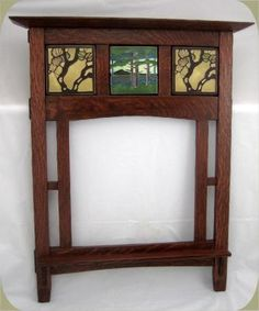 This craftsman mirror frame features our 6x6 Gamble House and 6x6 Pine Lanscape Mountin #motawi