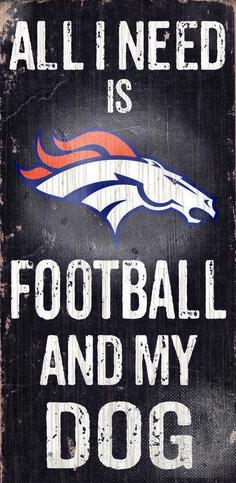 "Denver Broncos Wood Sign - Football and Dog 6""""x12"""""