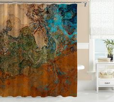 Abstract Art Shower Curtain Contemporary Bathroom Decor Southwest In Rust And Turquoise Canyon Sunset