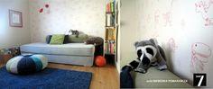 """pufa """"niebieska pomarańcza', niebieskie łóżko, biblioteczka, proj.Ag.Morawiec"""