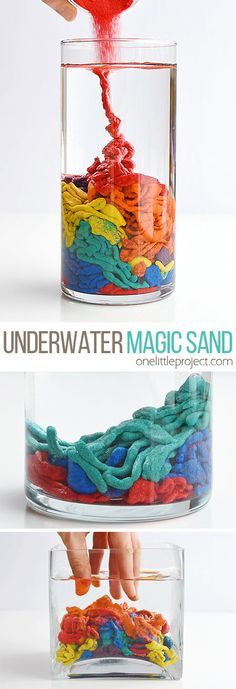 Colour Changing Flowers Science Experiment - A fun science project for This DIY underwater magic sand is such a fun science experiment to try with the kids! It's really cool to watch and it's a great way to learn about science! Preschool Science, Science For Kids, Science Activities, Activities For Kids, Kids Science Projects Easy, Fun Crafts, Arts And Crafts, Cool Crafts For Kids, Simple Crafts