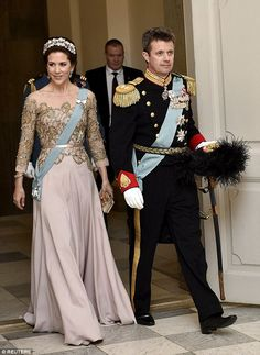 Glittering: Denmark's Crown Princess Mary and Crown Prince Frederik...