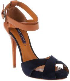 Tendance chausseurs : Navy and Cognac Ralph Lauren Cross Strap Buckled Stiletto . Tendance chausseurs : Navy and Cognac Ralph Lauren Cross Strap Buckled Stiletto Heel Pretty Shoes, Beautiful Shoes, Cute Shoes, Me Too Shoes, Stiletto Heels, High Heels, Stilettos, Shoe Boots, Shoes Heels