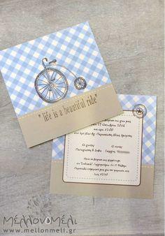 """Θεματικό Προσκλητήριο """"Vintage Ποδήλατο"""" Place Cards, Place Card Holders"""