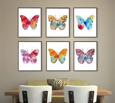 Watercolor butterfly art print set, butterflies painting, butterfly poster, insect art, colorful wall art, home decor Set of 6 prints.   THE SIZE IS FOR EACH PRINT!  These are high quality art prints of my original painting on 240gsm watercolor paper or canvas ( for the largest sizes).
