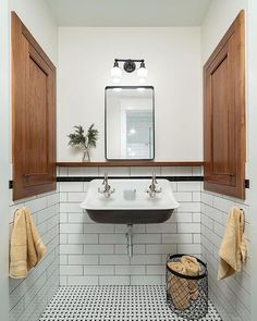"Mission Stone & Tile on Instagram: ""Combining a Basketweave pattern mosaic and a classic white subway tile walls is an impeccable way to create an elegant and timeless…"" 1920s Bathroom, Spanish Bathroom, Retro Bathrooms, Wood Bathroom, Small Bathroom, Cowboy Bathroom, Spanish Style Bathrooms, Basement Bathroom, Washroom"